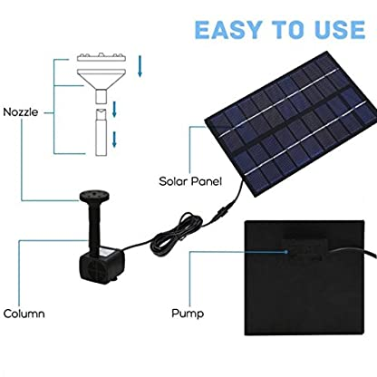 SIEGES 1.8W Solar Power Panel Submersible Water Pump Kits for Lawn Garden Pond Fountain Pool Water Cycle , Pond Fountain… 3