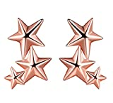 Unendlich U 3 Sterne Sternchen Damen Ohrstecker 925 Sterling Silber Stecker Ohrringe Ohrschmuck, Rosegold