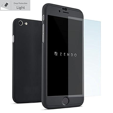 ZENDO iPhone 6 / 6s Hülle EXTREM DÜNN + 9H Anti-Kratz-Bildschirmschutz | NanoSkin UltraThin 360° Full-Cover Case [iPhone 6/6s, BLACK]