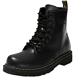 Minetom Moda Invierno Zapatos Antideslizante Impermeable Martin Boots Botines Botas de Nieve Para Mujer Negro EU 38