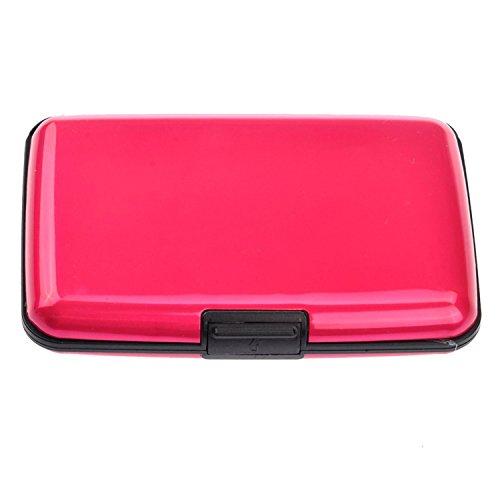 TOOGOO(R) Portable wasserdichte Aluminium 6 Steckplaetzen Business ID Credit Card Inhaber Brieftasche Schutzhuelle (Rosig) - Foto-hinweis-card-inhaber