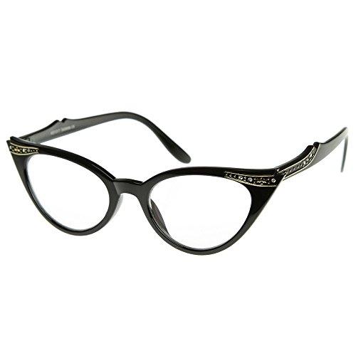 KISS Gafas neutral CAT EYE mod. PIN-UP CRYSTALS - marco óptica, las MUJERES de la moda de vintage - NEGRO