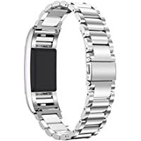 """Fitbit Charge 2 Band, PEMOTech [Luxury, Durability, Classic] Adjustable Stainless Steel Bracelet Strap Replacement Band for Fitbit Charge 2 Watch Fitness Tracker, Wrist Length 5.5""""-8.1"""" (140mm-205mm)"""