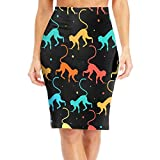 Flying XIE Funny Monkey Pattern Women's Fashion High Waist Bodycon Pencil Skirts Printed Party Skirt,M