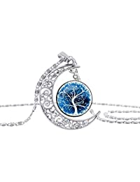 Runfon - Collar con Colgante de Luna, diseño de árbol de la Vida, diseño de libélula