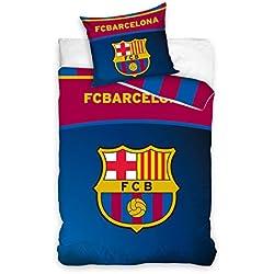 Juego de Funda de edredón y Funda de Almohada para Cama Individual, diseño del FC Barcelona