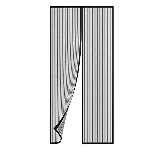 TRIXES Zanzariera Magnetica Nera Porta - Pannello Tenda Pieghevole in Mesh - Tiene lontani Gli Insetti Fa Entrare l'Aria - per Porte Fino a 90 x 210 cm.