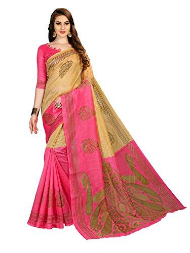 Indian Beauty Art Bhagalpuri Cotton With Blouse Sarees