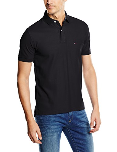 Tommy Hilfiger Herren Poloshirt 50/2 PERFORMANCE POLO S/S RF, Gr. Medium, Schwarz (NEW BLACK 060)