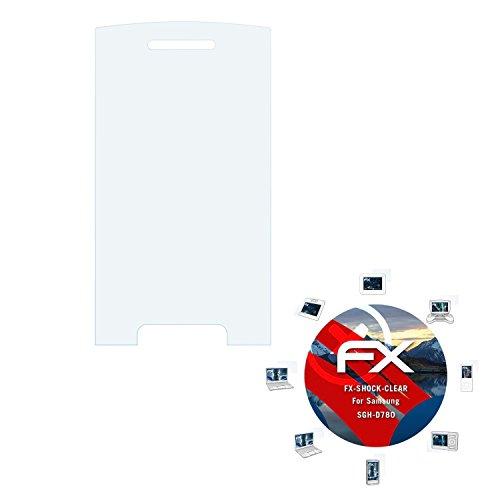 Samsung SGH-D780 Folie - 3 x atFoliX FX-Shock-Clear stoßabsorbierende ultraklare Panzerfolie Displayschutzfolie