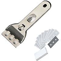 GLASS & CERAMIC HOB SCRAPER KNIFE CLEANER & 10 SPARE Replacement
