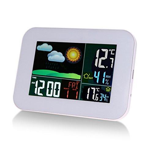 Funkwetterstation mit LCD Farbdisplay, Beneray Wetterstation Thermometer Hygrometer mit Wettervorhersage, Wecker / Schlummer, Innen und Außentemperatur Feuchtigkeit 60m Schaltabstand, USB Ladeanschluss