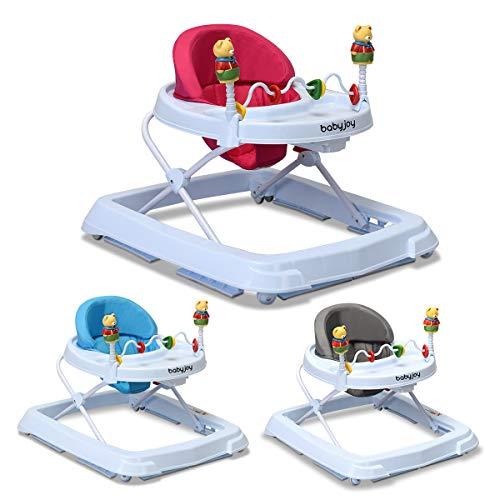 COSTWAY Lauflernhilfe Baby Walker Gehfrei Laufhilfe Lauflernwagen Laufstuhl Höhenverstellbar (Rosa)