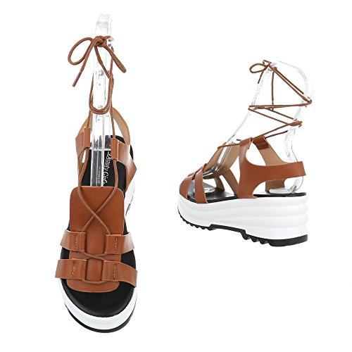 Ital-Design , chaussures compensées femme Camel