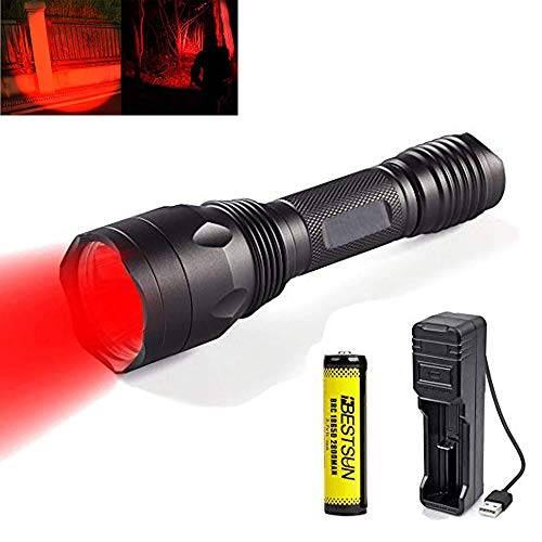 Rotlicht Taschenlampe, Wiederaufladbare Rote LED-Taschenlampe Leuchtet 3X XP-E2 LED-Langstrecken-Einzelmodus für Nachtsicht und Astronomie