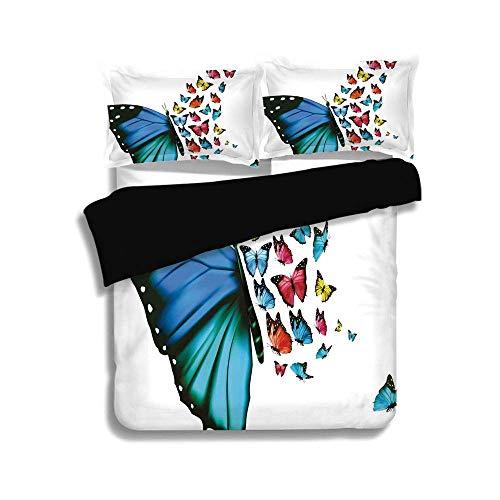LIS HOME Schwarzer Bettwäschesatz, Schmetterling, Kreative Konzeptgrafik Monarch Wings Bunt Realistische Natürliche Tierwelt, Mehrfarben, Dekorativ 3-teiliges Bettwäscheset von 2 Pillow Shams