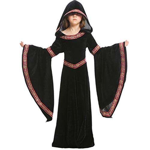 Renaissance Boy Kostüm - DONGBALA Kostüme Für Mädchen, Kind Gericht Kleid Kapuzenrock Mittelalterliches Viktorianisches Halloween-Kleid Zum Cosplay Night Club Bühnenshow Dress Up Kleider Kleid Dress (Schwarz),S