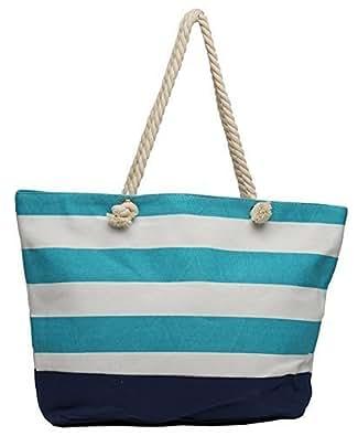 Kurtzy Women's Medium Size Cotton Striped With Inner Zipper Pocket Handbags - Multicolour (Ka-059-A)