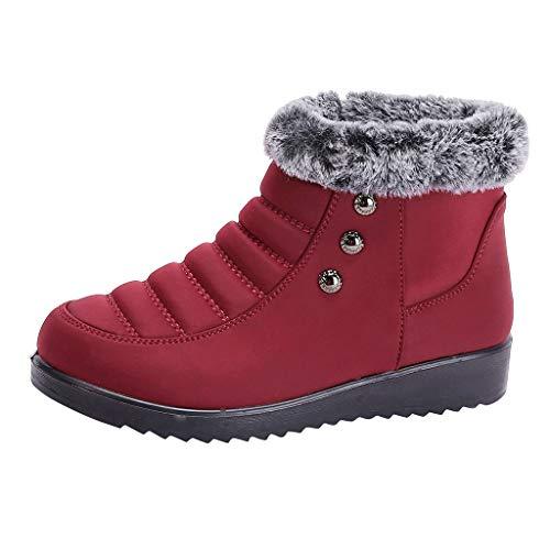 Damen Stiefeletten Winter Gefüttert Schneeschuhe Warme High Top Ankle Boots Baumwolle Flach Schlupfstiefel Runde Kappe Kurze Stiefel Plus Dicken Samt Gummistiefel, Rot, 35.5 EU