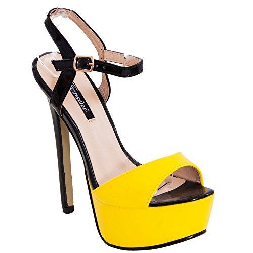 Toocool - Scarpe donna sandali decolletè decoltè lucide vernice cinturino nuove tacco alto RD-21104 Giallo