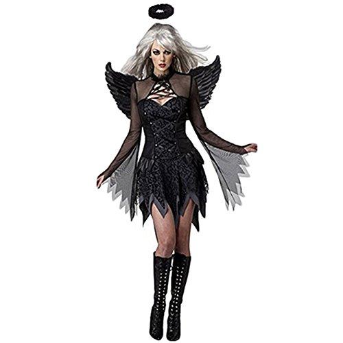 (Costour Damen Schwarzer Engel Hexe Cosplay Kostüm Kleid Karneval Halloween Fasching Gothic, Schwarz, Medium)