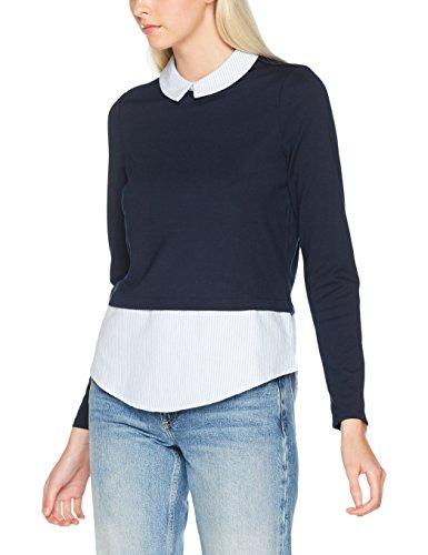 Vero Moda, Maglia a Maniche Lunghe Donna Blu (Navy Blazer Detail:shirt W Snow White And Blue Stripe)