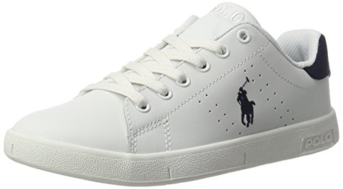 Ralph Lauren Unisex-Kinder bilton Low-Top, Weiß (White-Navy Leather), 35 EU (Top Lauren Polo Ralph Boys)