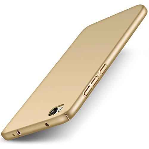 Xiaomi Mi5c Mi 5C Hülle + Panzerglas Displayschutzfolie, [Ultra Dünn] [Leicht] Anti-Kratzer Schutzhülle, Anti-Fingerabdruck Hart Plastisch Rückdeckel Cover Case - Gold