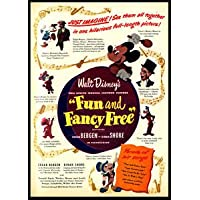 """""""FUN AND FANCY FREE"""" - Mickey Mouse & Goofy - Vintage Movie Poster - Poster Size : Super A1"""