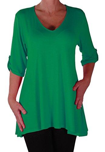 EyeCatch Plus - Tunique basique col en V - Shellie - Femme - Grandes Tailles Jade Vert