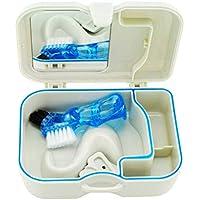 Healifty Zahnprothesendose Kieferorthopädische Prothese Teeth Aufbewahrungsbox mit Spiegel Bürste (Weiß)