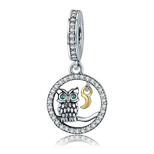 Lily jewelry saggio gufo pendente in argento sterling 925, adatto per pandora braccialetti europei