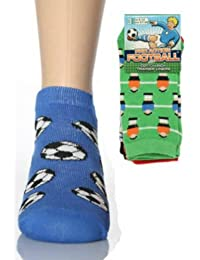 One Pack Of Three Pairs Of Trainer Socks With Assorted Football Designs - Size UK 6-8.5 EUR 23-26