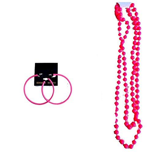 Blue Planet Online - Neon Necklace and Hoop Earrings 1980s Fancy Dress