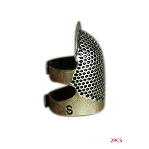 Regard L 2pcs S Tamaño Ajustable latón dedales Metal