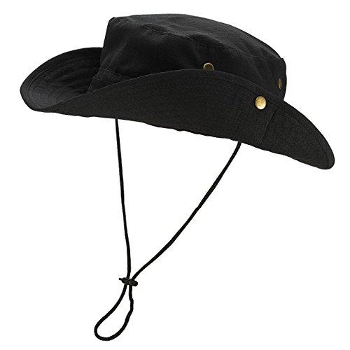 Faleto Outdoor Hut Buschhut Boonie Hat mit Kinnband Fischermütze Sonnenhut Sommerhut für Herren Damen, Schwarz, passt für Kopfumfang 60cm Schwarze Outdoor Hut