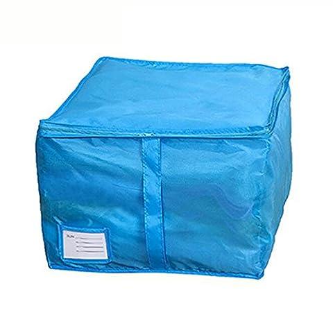 ZHOUBA Literie Oreillers à couette Fermeture à glissière Foldable sous le lit Boîte à rangement à vêtements Boîte Hand Handles Luggage size S (Blue)