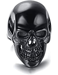 Mens Stainless Steel Ring, Viantage, Biker, black, skull KR5433