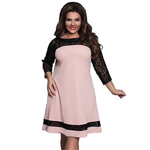 DD UP Plus Size Dress Robe Classique Tunique jupe Femme pink