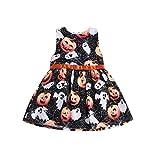 Vetement Fille Vtops Halloween Enfant en Bas âge Enfants bébé Fille Dessin animé Robe de Citrouille vêtements Robe Fille la Mode Noir 90