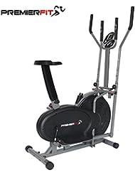 PremierFit CB360 - Bicicleta Elíptica 2 en 1 para Ejercicios, para Ejercicios de Fitness, Cardio, Pérdida de Peso, Máquina de Entrenamiento con Asiento + sensores de Pulso de frecuencia Cardíaca
