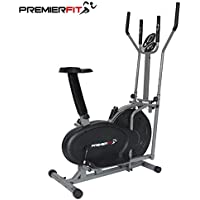 PremierFit CB360 2-in-1 Elliptical Cross Trainer Exercise Bike - Fitness Cardio Weight-Loss Workout Machine with Seat + Heart Rate Pulse Sensors