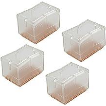 WEONE rectangular transparente del gel del silicio pata de la silla Caps Pies Pad Muebles Mesa cubiertas de madera protectores de piso (paquete de 8)