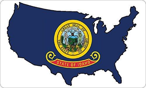 Mini Aufkleber-Pack , 33x20mm Rechteck , selbstklebend Idaho Flagge Etiketten , USA US Staat Sticker