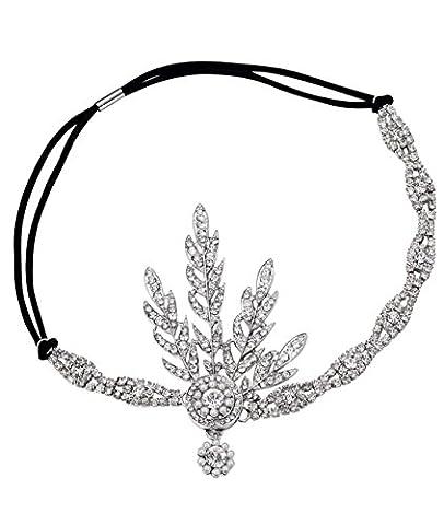 Babeyond Bandeau Cristal Mariage Flapper Headband Silver Gatsby Art des Années 1920 Mariage Cérémonies Accessoires de Cheveux Bandeaux Inspiré Feuille Couronne Perle, Argenté