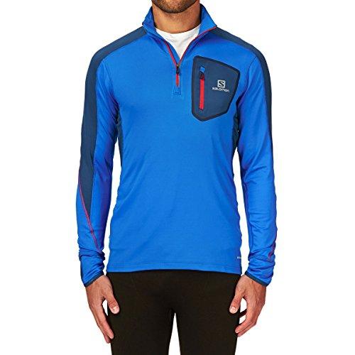 Salomon Damen T-Shirt Trail Runner Warm Herren Shirt, langärmlig, mit Reißverschluss Blau - Blau