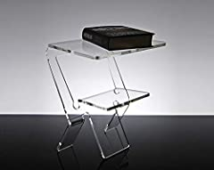 Idea Regalo - Slato Comodino da Notte dal Design Moderno in plexiglass Trasparente Oniro (32 × 27 × h 38 cm)