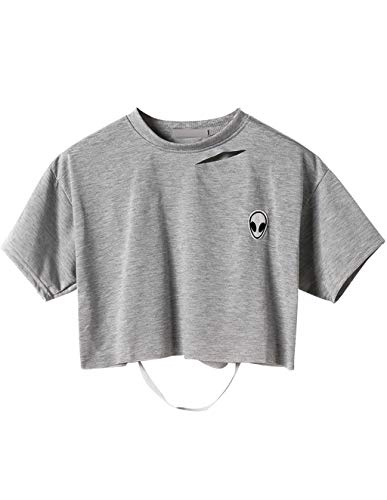 ffe3a052fa0dd7 Magliette Tumblr Ragazza Estate Canotta Donna Camicetta Alieno Stampa  Maniche Corte T-Shirt Collo Rotondo