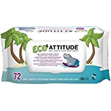 ATTITUDE, Eco-Baby, 100% Biodegradable Wipes, Unscented, 72 Wipes