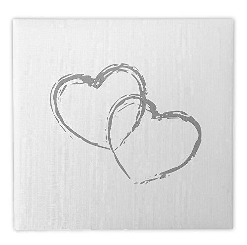 Livre d'or Mariage 2 cœurs blanc effet toilé - Fabriqué en France - LDM2C